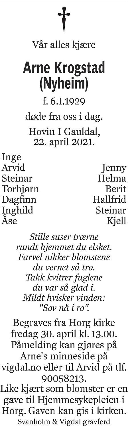 Arne Krogstad Dødsannonse