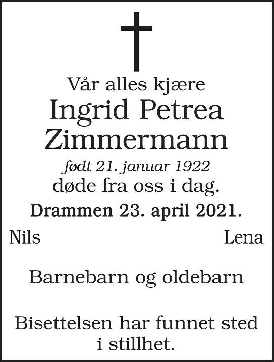Ingrid Petrea Zimmermann Dødsannonse