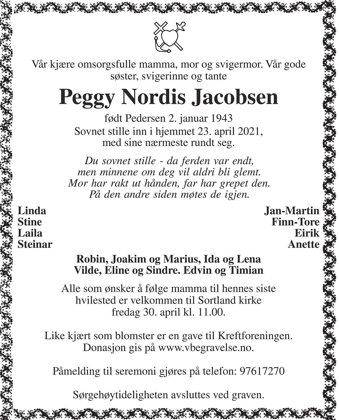 Peggy Nordis Jacobsen Dødsannonse