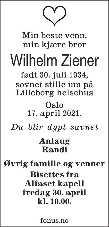 Wilhelm Ziener Dødsannonse
