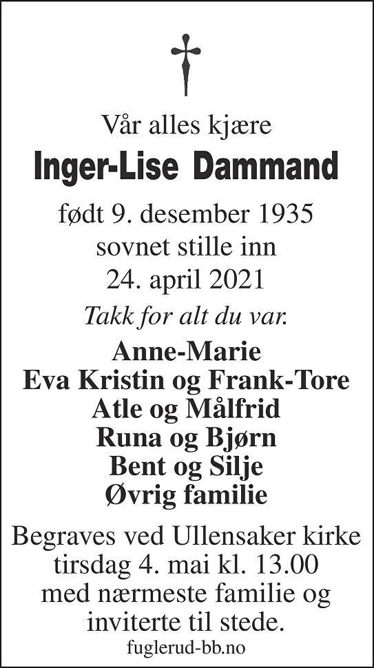 Inger-Lise Dammand Dødsannonse