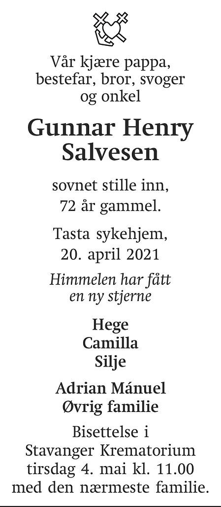 Gunnar Henry Salvesen Dødsannonse
