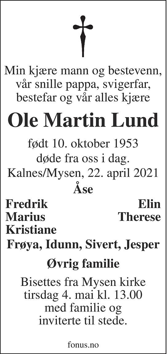Ole Martin Lund Dødsannonse
