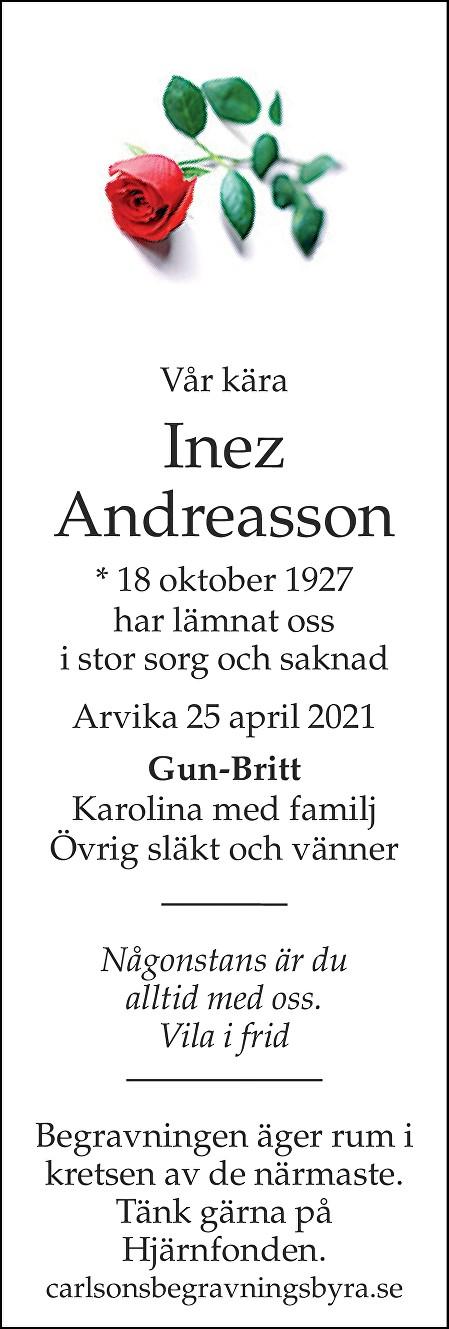 Inez Andreasson Death notice