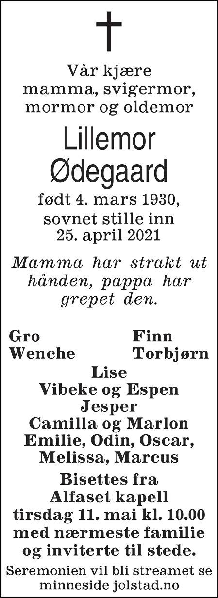 Lillemor Ødegaard Dødsannonse