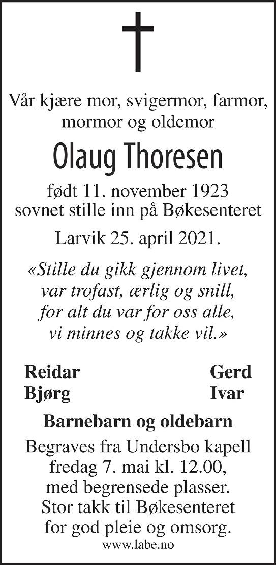 Olaug Thoresen Dødsannonse