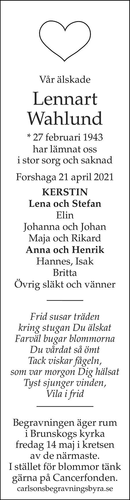 Lennart Wahlund Death notice