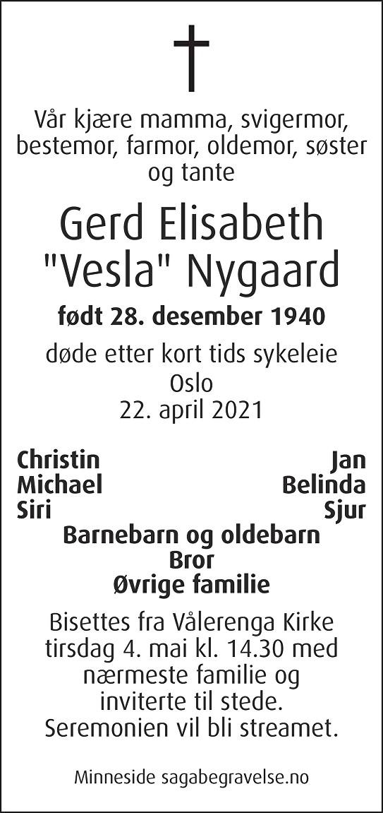 Gerd Elisabeth Nygaard Dødsannonse