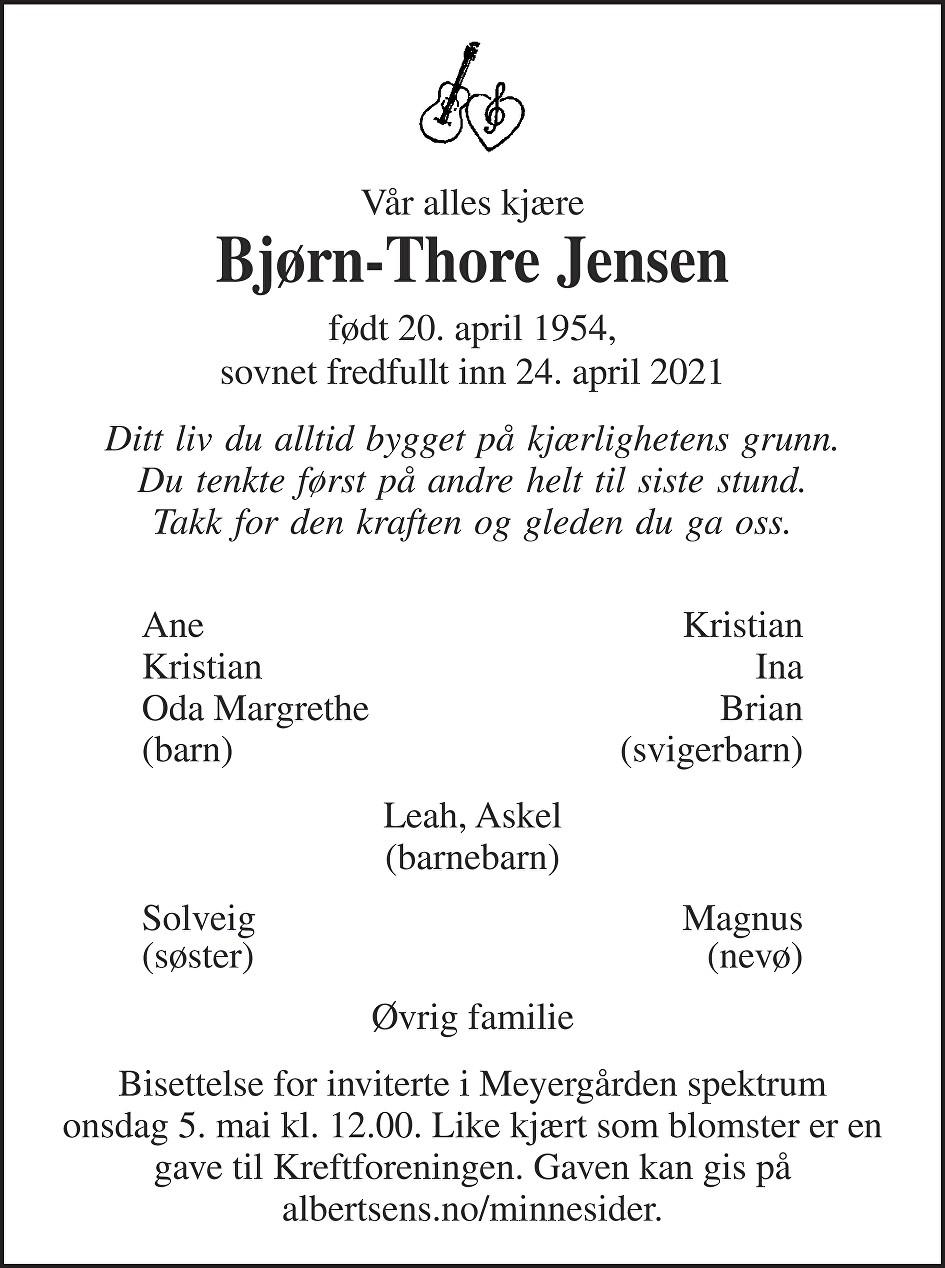 Bjørn-Thore Jensen Dødsannonse
