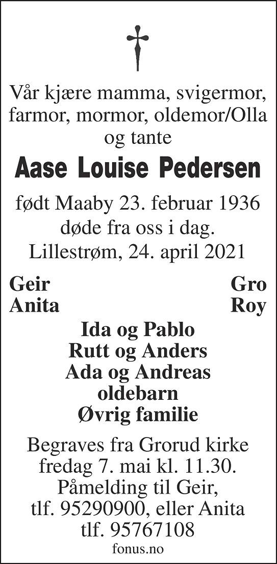 Åse Lovise Pedersen Dødsannonse