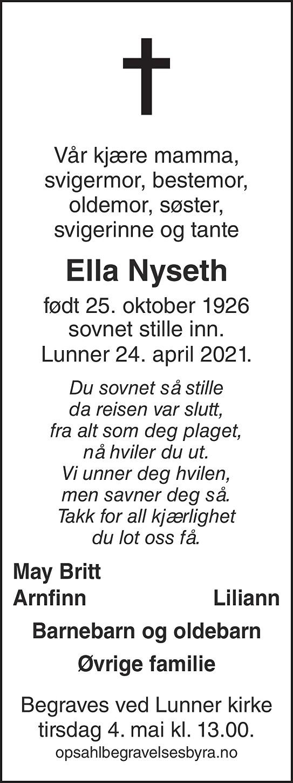 Ella Nyseth Dødsannonse