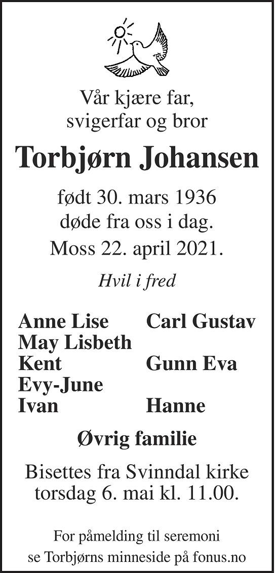 Torbjørn Johansen Dødsannonse