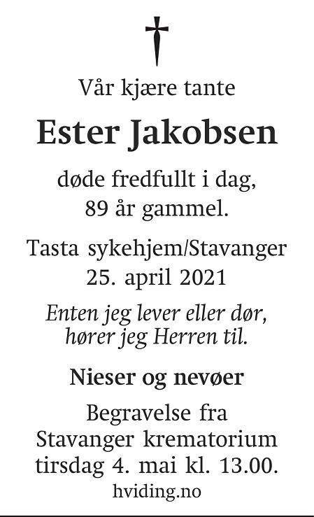 Ester Jakobsen Dødsannonse