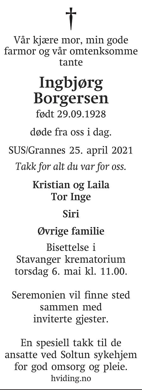 Ingbjørg Borgersen Dødsannonse