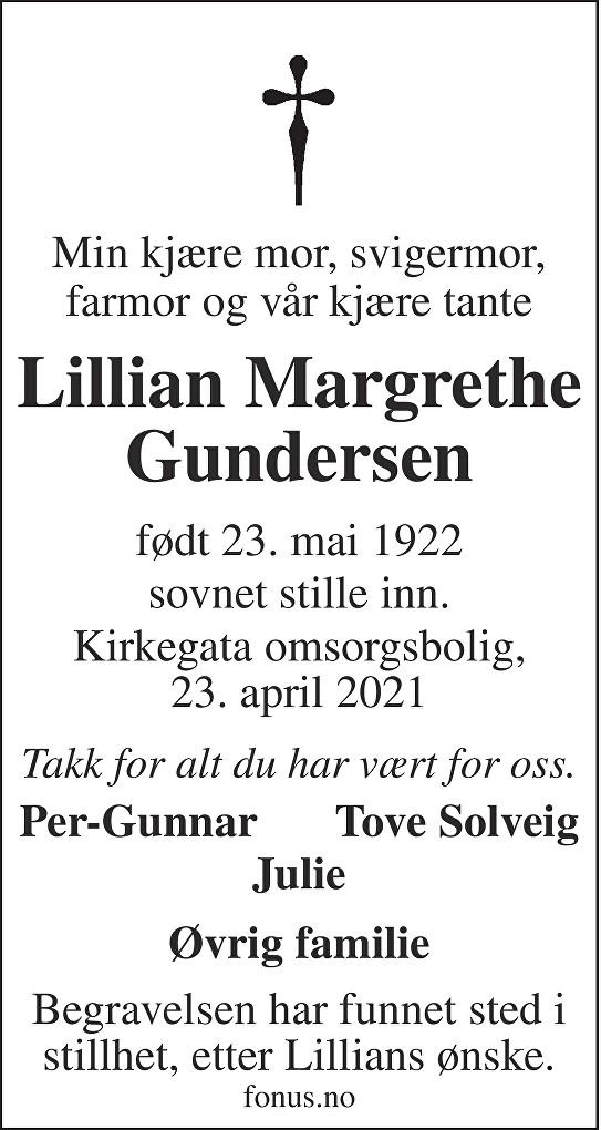 Lillian Margrethe Gundersen Dødsannonse