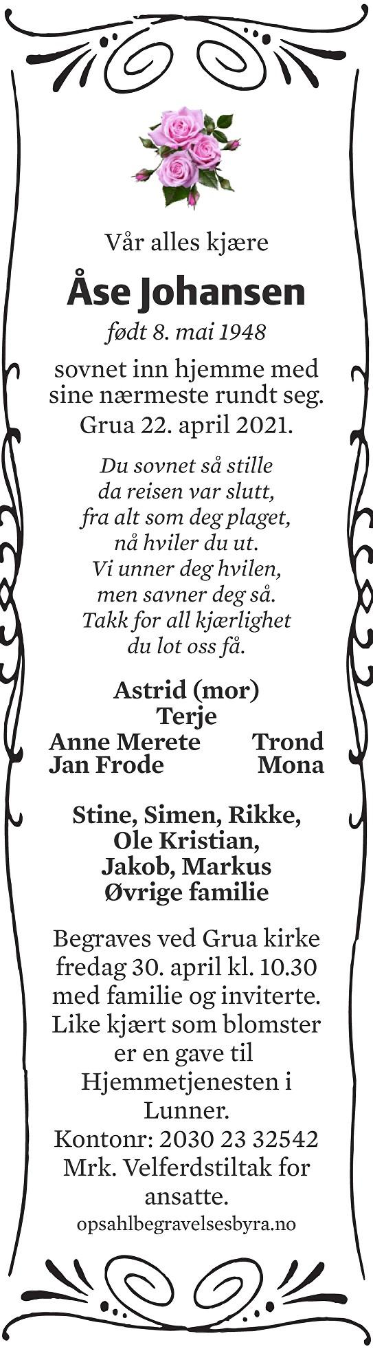 Åse Johansen Dødsannonse