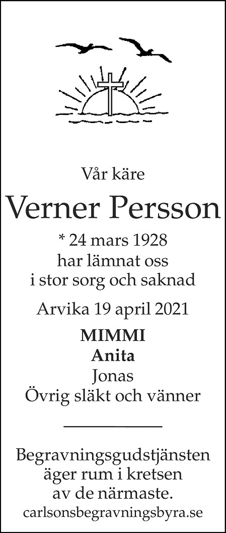 Verner Persson Death notice