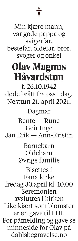 Olav Magnus Håvardstun Dødsannonse