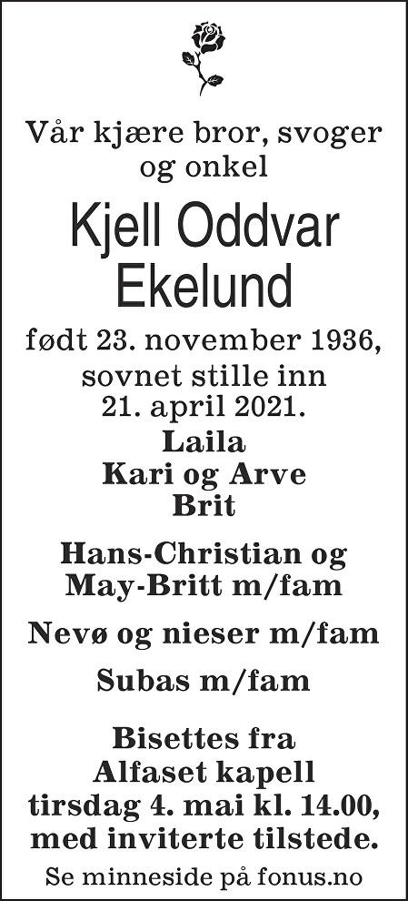 Kjell Oddvar Ekelund Dødsannonse