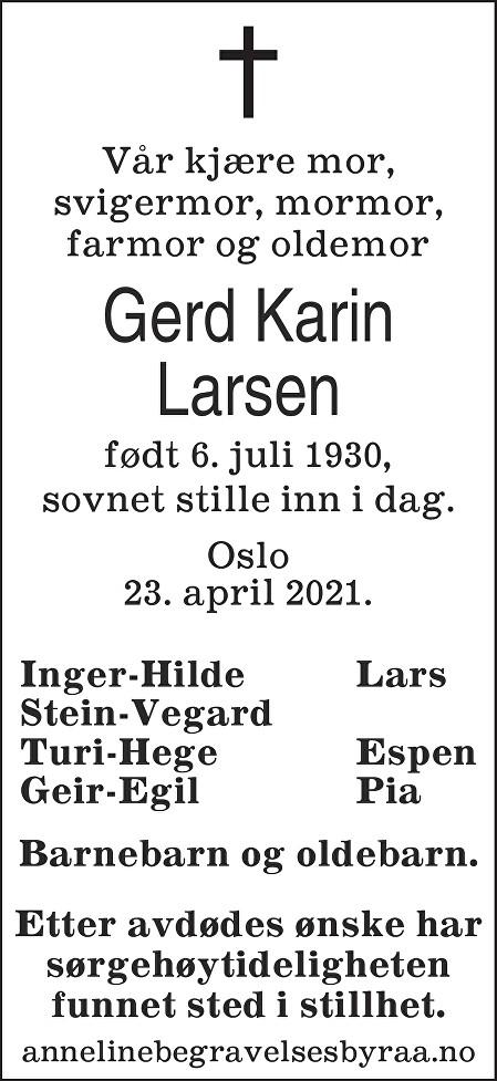 Gerd Karin Larsen Dødsannonse