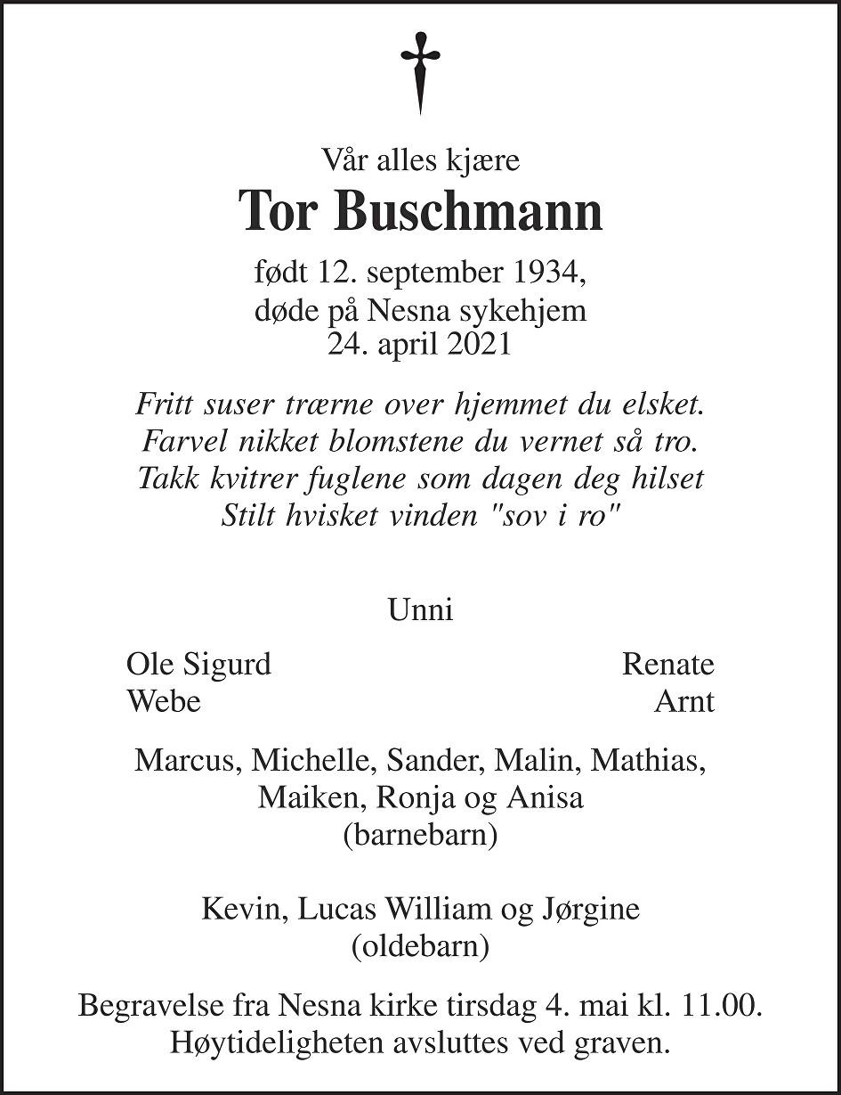 Tor Buschmann Dødsannonse