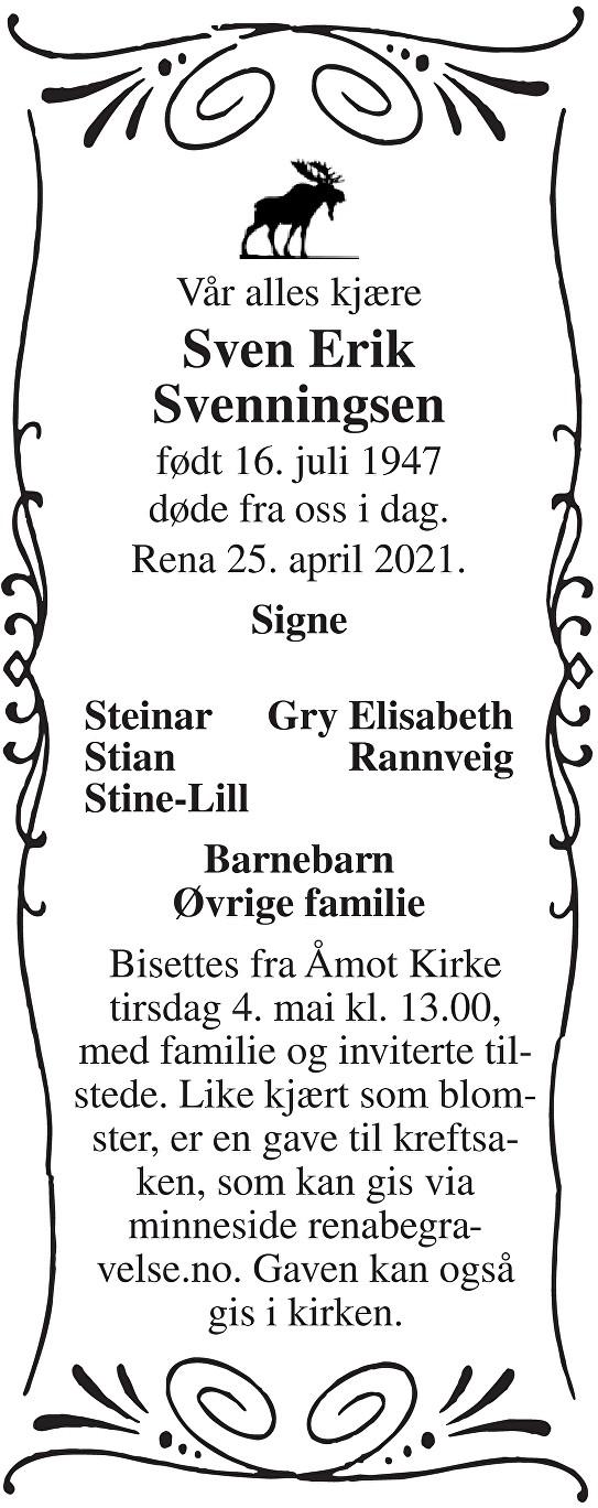 Sven Erik Svenningsen Dødsannonse