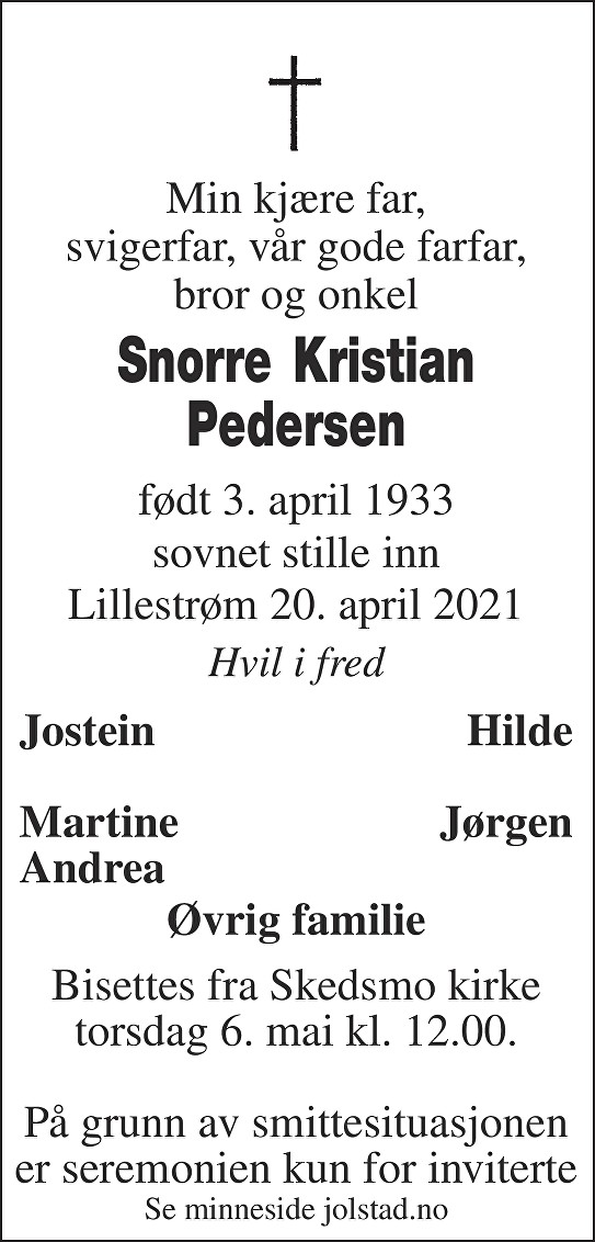 Snorre Kristian Pedersen Dødsannonse