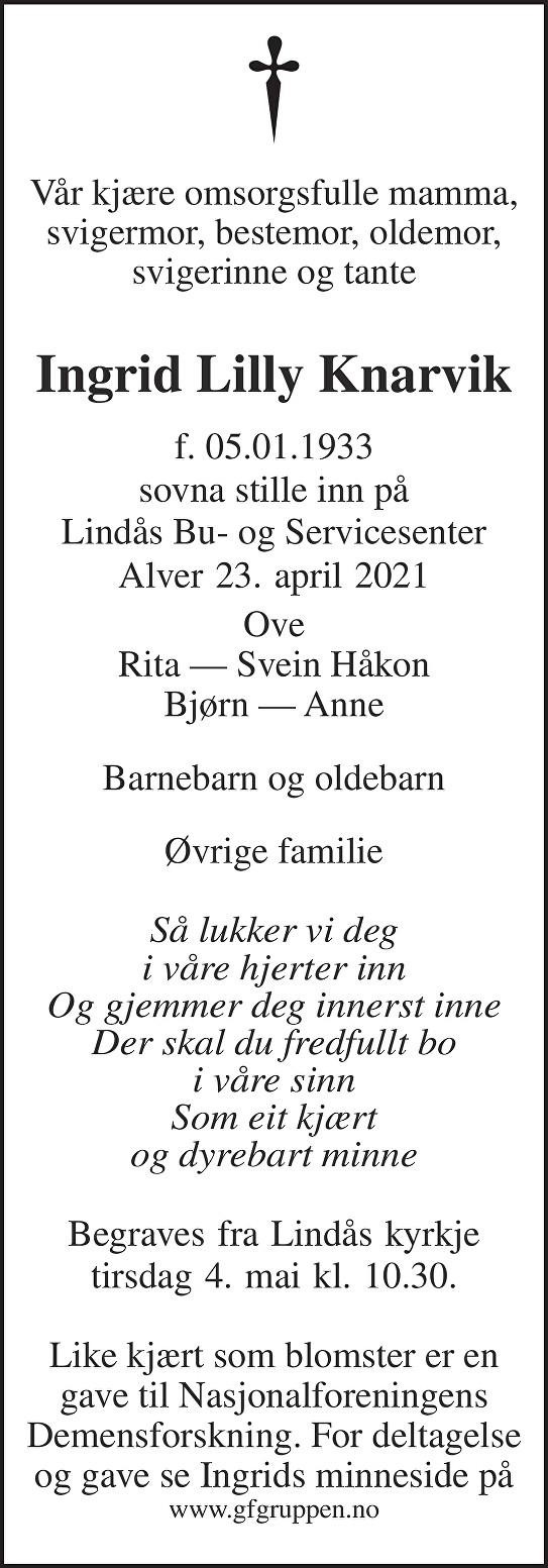 Ingrid Lilly Knarvik Dødsannonse
