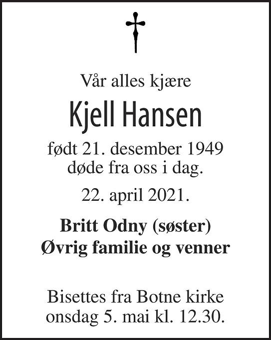 Kjell Hansen Dødsannonse
