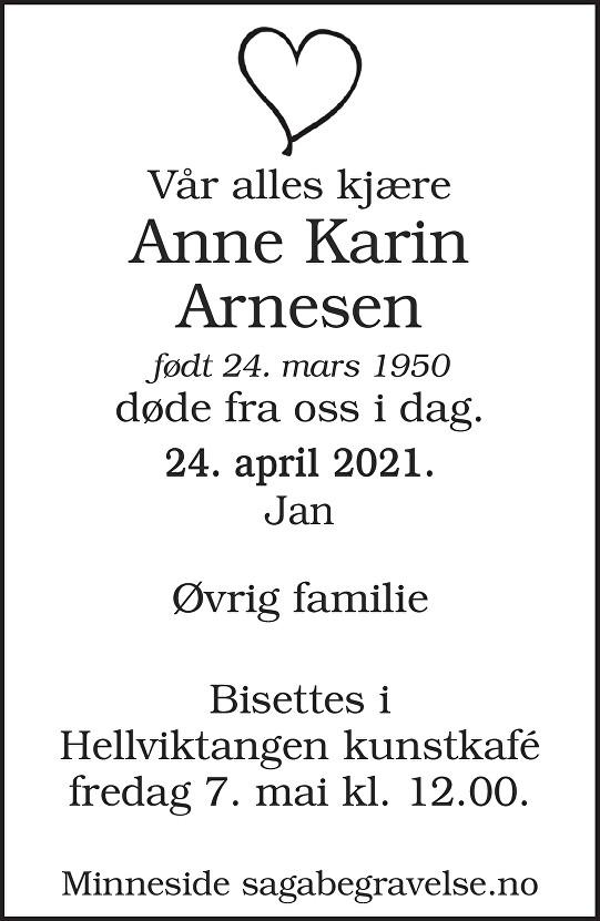 Anne Karin  Arnesen Dødsannonse