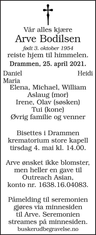 Arve Roger Ankjær Bodilsen Dødsannonse