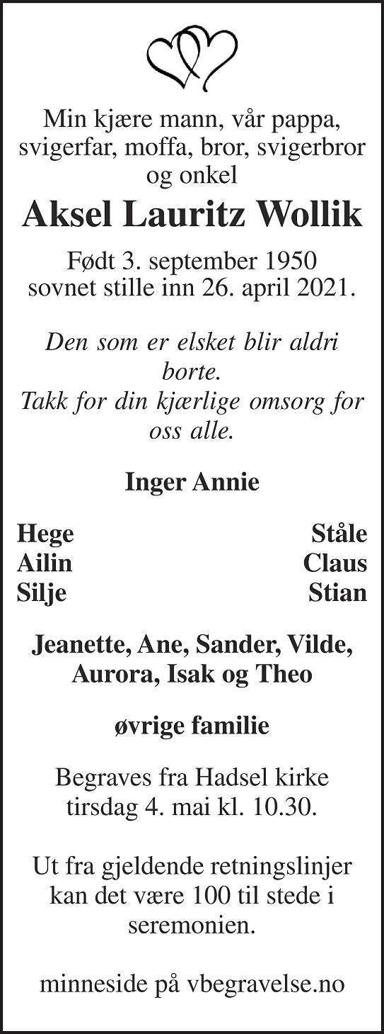 Aksel Lauritz Wollik Dødsannonse