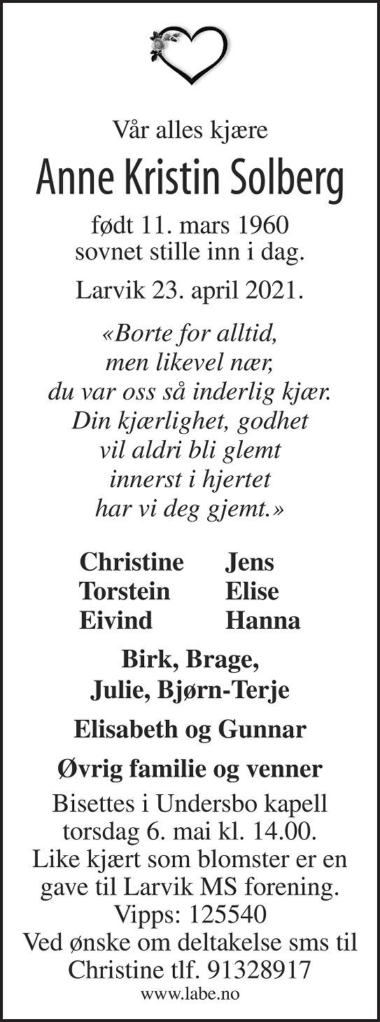 Anne Kristin Solberg Dødsannonse