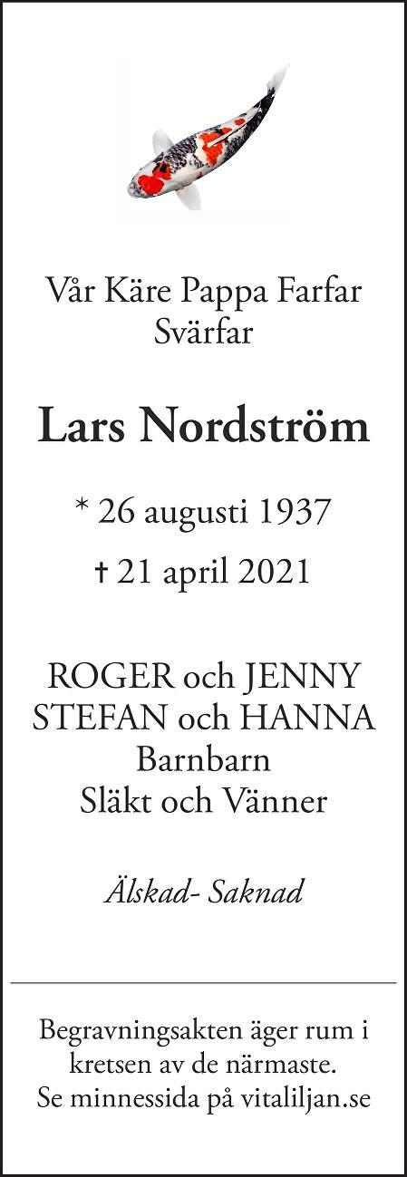 Lars  Nordström Death notice