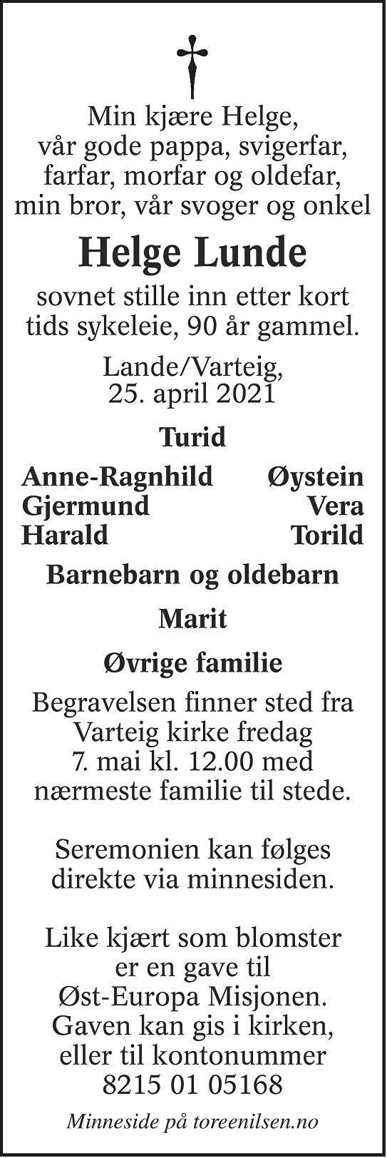 Helge Lunde Dødsannonse