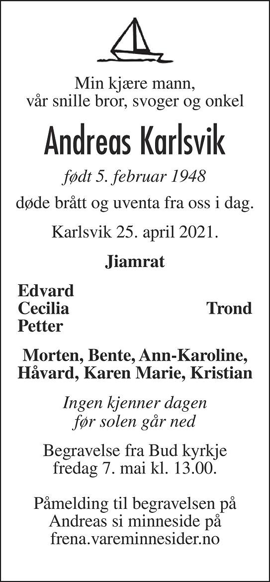 Andreas Edvin Karlsvik Dødsannonse