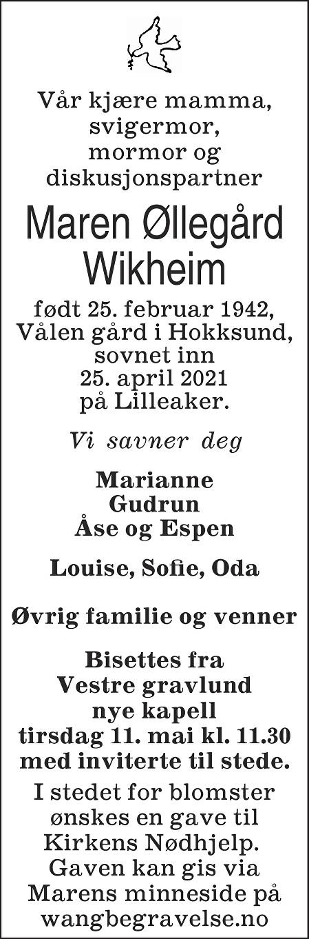 Maren Øllegård Wikheim Dødsannonse