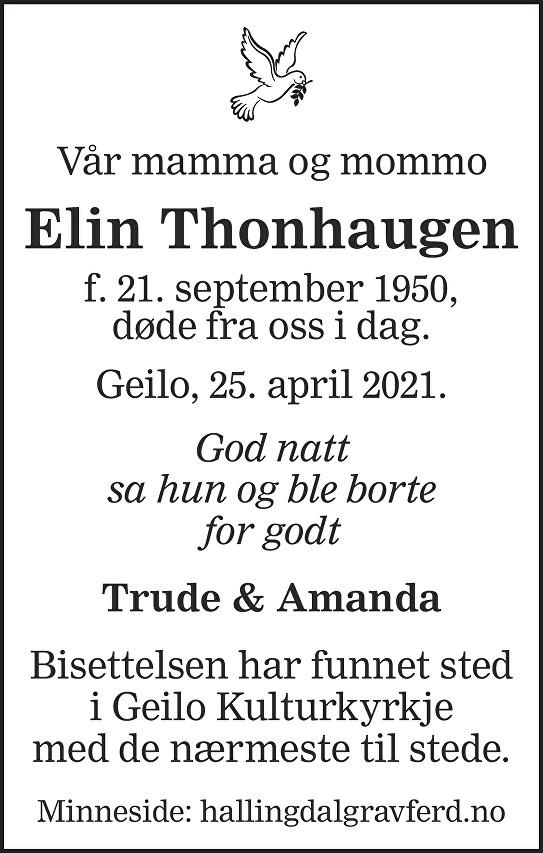 Elin Thonhaugen Dødsannonse