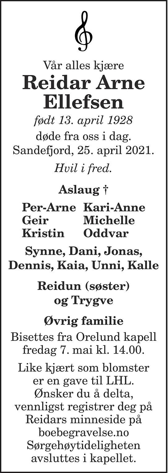Reidar Arne Ellefsen Dødsannonse