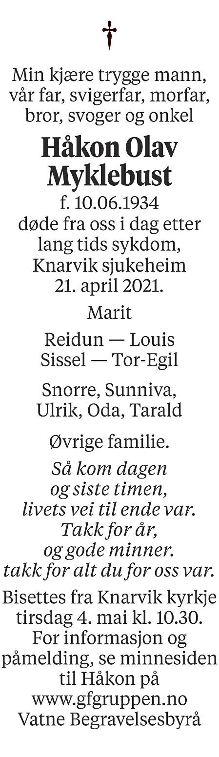 Håkon Olav Myklebust Dødsannonse