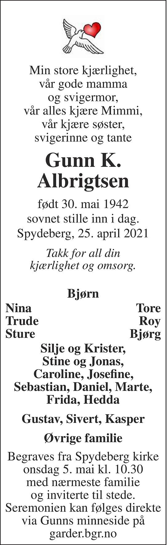 Gunn Kari Albrigtsen Dødsannonse