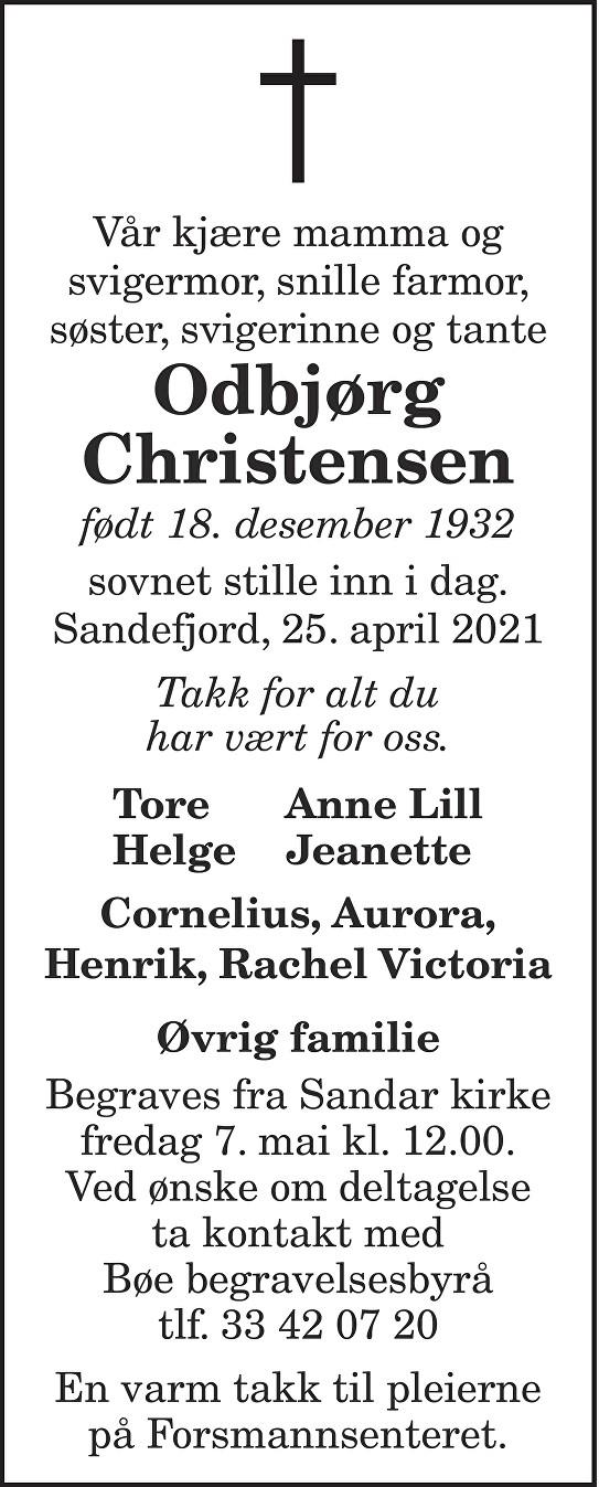 Odbjørg Christensen Dødsannonse