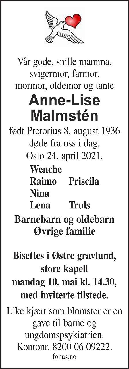 Anne-Lise Malmsten Dødsannonse