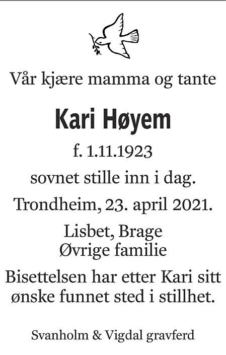 Kari Høyem Dødsannonse