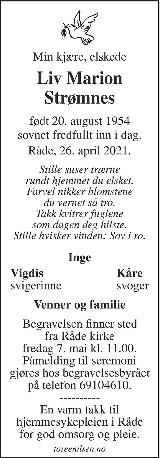 Liv Marion Strømnes Dødsannonse