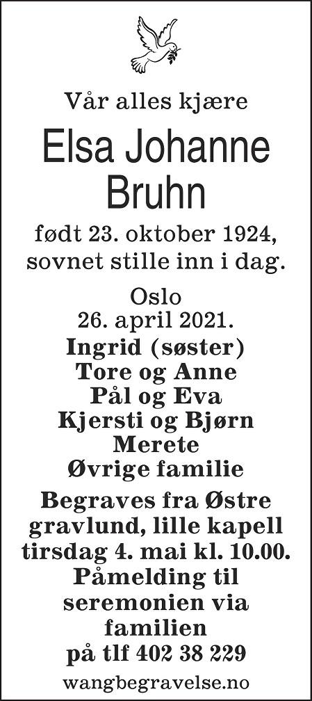 Elsa Johanne Bruhn Dødsannonse
