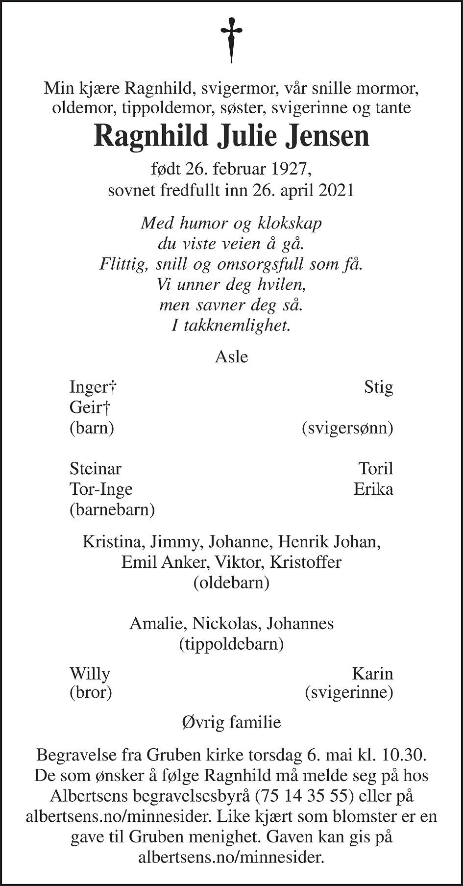 Ragnhild Julie Jensen Dødsannonse