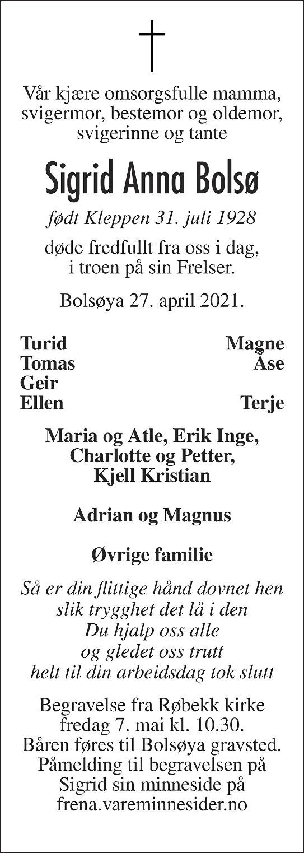 Sigrid Anna Bolsø Dødsannonse