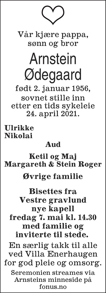 Arnstein Ødegaard Dødsannonse