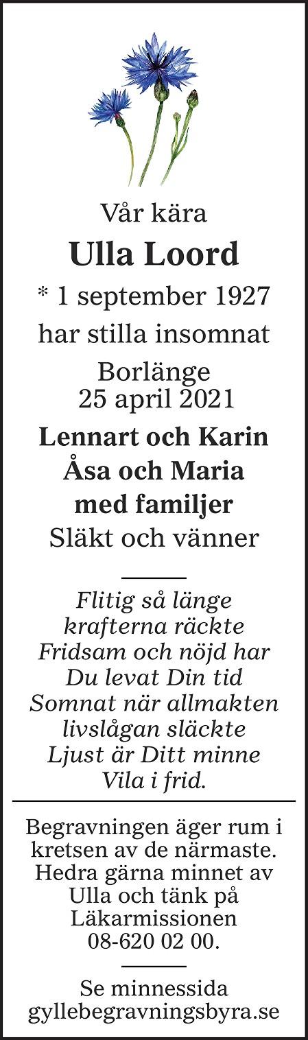 Ulla Loord Death notice